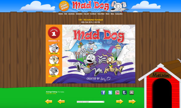 Preview screen cap of mad dog comic website